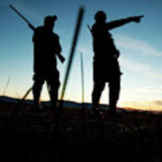 Two Hunters Track Geese In Nevada Poster