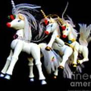 3 Unicorns Romping Poster