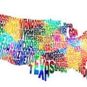 United States Typography Text Map Poster by Michael Tompsett