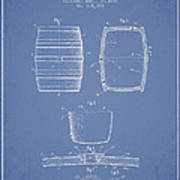 Vintage Beer Keg Patent Drawing From 1898 - Light Blue Poster