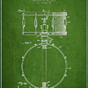 Snare Drum Patent Drawing From 1939 - Green Poster