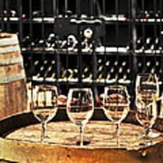 Wine Glasses And Barrels Poster