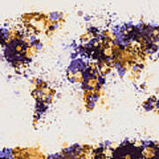 World Map Paint Splashes Poster by Michael Tompsett