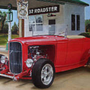 32 Ford At Filling Station Poster