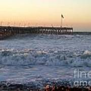 Ocean Wave Storm Pier Poster