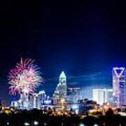 4th Of July Firework Over Charlotte Skyline Poster