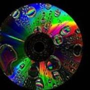 Abstract Rainbow Droplets On Cd Poster