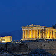 Acropolis Of Athens During Dusk Time Poster