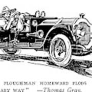 Automobile Cartoon, 1914 Poster