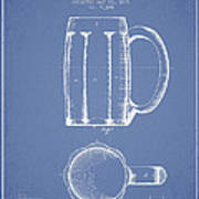 Beer Mug Patent From 1876 - Light Blue Poster