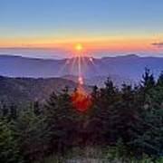 Blue Ridge Parkway Autumn Sunset Over Appalachian Mountains  Poster