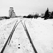 Cn Canadian National Railway Tracks And Grain Silos Kamsack Saskatchewan Canada Poster