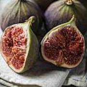Delicious Figs On Wooden Background Poster