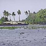 Digital Oil Painting - A Houseboat On Its Quiet Sojourn Through The Backwaters Poster