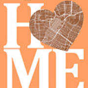 Houston Street Map Home Heart - Houston Texas Road Map In A Hear Poster