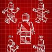Lego Figure Patent 1979 - Red Poster