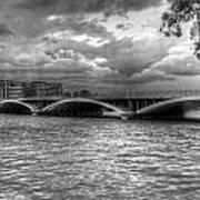 London Thames Bridges Bw Poster