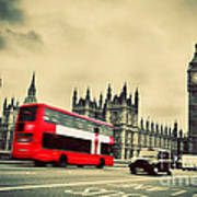 London Uk Red Bus In Motion And Big Ben Poster