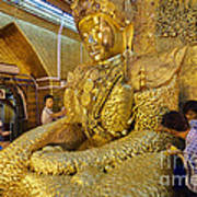 4 M Tall Sitting Buddha With Thick Layer Of Golden Leaves In Mahamuni Pagoda Mandalay Myanmar Poster