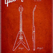 Mccarty Gibson Electric Guitar Patent Drawing From 1958 - Red Poster
