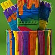 Multicolored Paint Can With Brushes Poster