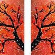 4-panel Snow On The Orange Cherry Blossom Trees Poster