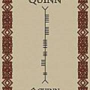 Quinn Written In Ogham Poster