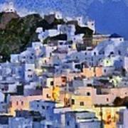 Serifos Town During Dusk Time Poster
