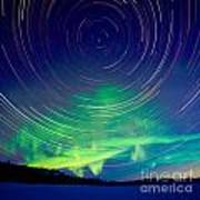 Star Trails And Northern Lights In Night Sky Poster