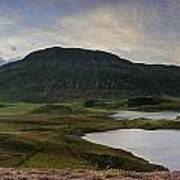 Stunning Sunrise Panorama Landscape Of Heather With Mountain Lak Poster