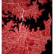 Sydney Street Map - Sydney Australia Road Map Art On Colored Bac Poster