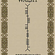 Walsh Written In Ogham Poster