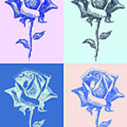4 Warhol Roses By Punt Poster