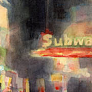 42nd Street Subway Watercolor Painting Of Nyc Poster