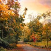 Autumn's Sunset Path Poster