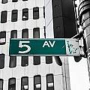 5 Ave. Sign Poster