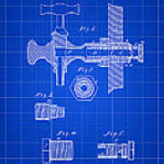 Beer Tap Patent 1876 - Blue Poster