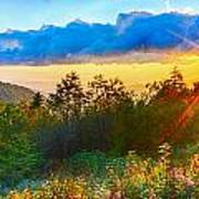 Blue Ridge Parkway Late Summer Appalachian Mountains Sunset West Poster