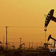 California Oil Field Under Amber Sky Poster