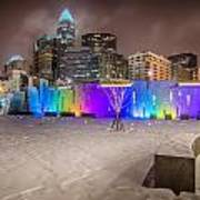 Charlotte Queen City Skyline Near Romare Bearden Park In Winter Snow Poster