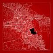 Cochabamba Street Map - Cochabamba Bolivia Road Map Art On Color Poster