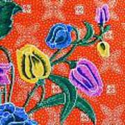 Colorful Batik Cloth Fabric Background  Poster by Prakasit Khuansuwan