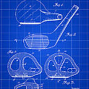 Golf Club Patent 1926 - Blue Poster