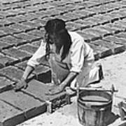 Indians Making Adobe Bricks Poster
