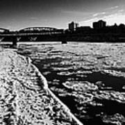 large chunks of floating ice on the south saskatchewan river in winter flowing through downtown Sask Poster
