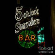 5 O'clock Somewhere Bar Poster