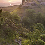 Romantic Fantasy Magical Castle Ruins Against Stunning Vibrant S Poster