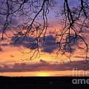 Spectacular Sunset Epsom Downs Surrey Uk Poster
