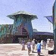Visitors Heading Towards The Waterworld Attraction Poster