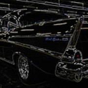 57 Chevy Neon Glow Poster by Steve McKinzie
